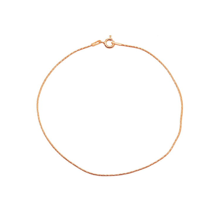 Rose Gold Flashed Sterling Silver Italian .75mm Diamond-Cut Snake Chain Anklet, 9mm