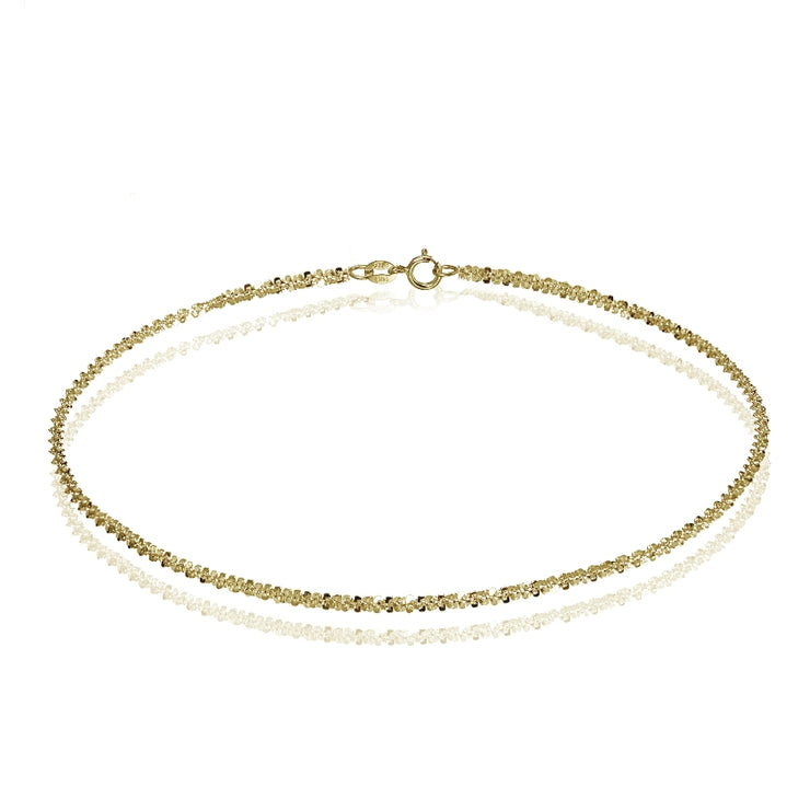 14K Yellow Gold 1.3 Rock Rope Italian Chain Anklet, 9 Inches
