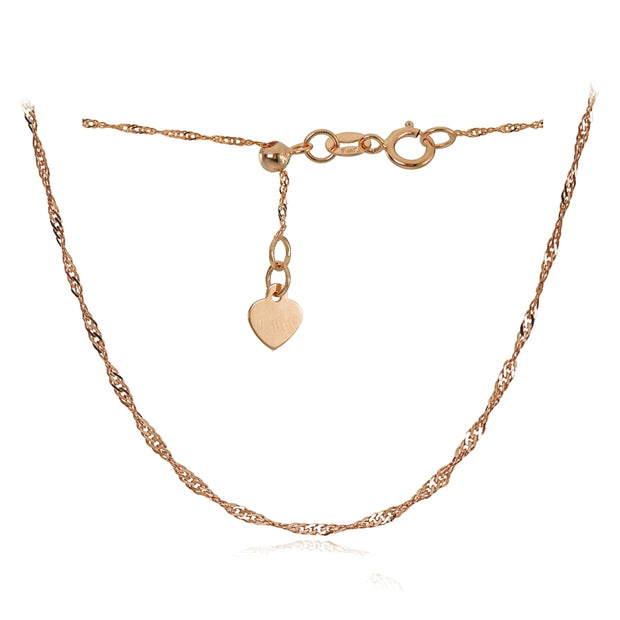 14K Rose Gold 1.4mm Singapore Adjustable Italian Chain Anklet, 9-11 Inches