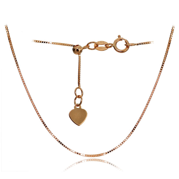 14K Rose Gold Box Adjustable Italian Chain Anklet, 9-11 Inches