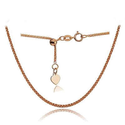 14K Rose Gold .8mm Spiga Wheat Adjustable Italian Chain Anklet, 9-11 Inches