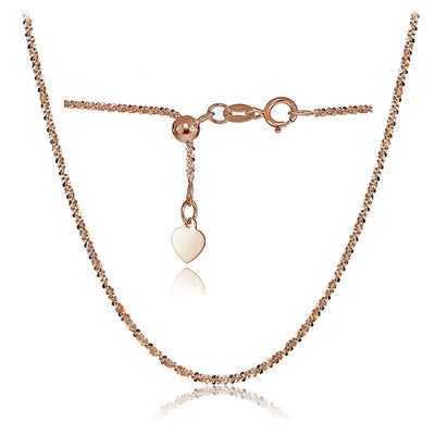 14K Rose Gold 1.3mm Rock Rope Adjustable Italian Chain Anklet, 9-11 Inches
