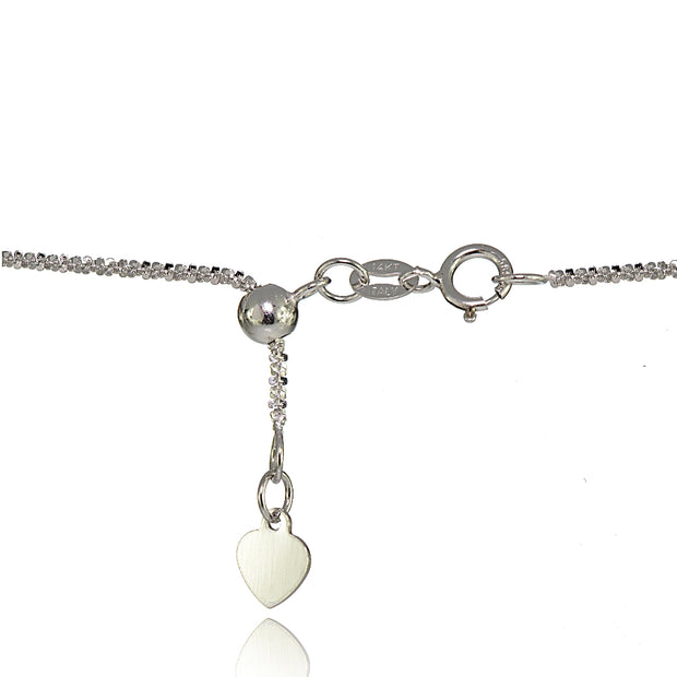 14K White Gold 1.3mm Rock Rope Adjustable Italian Chain Anklet, 9-11 Inches