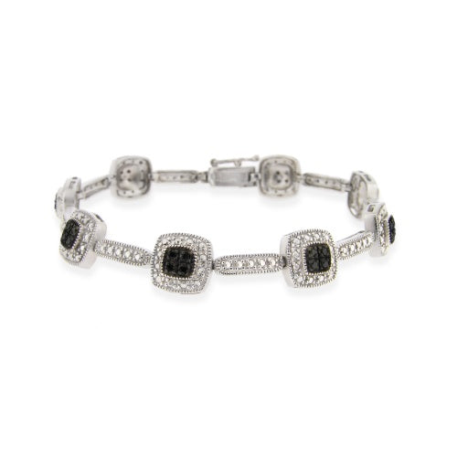 Sterling Silver 2/5 ct Black Diamond Square Link Bracelet