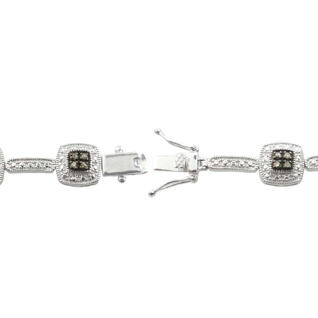 Sterling Silver 2/5 ct tdw Champagne Diamond Square Link Bracelet