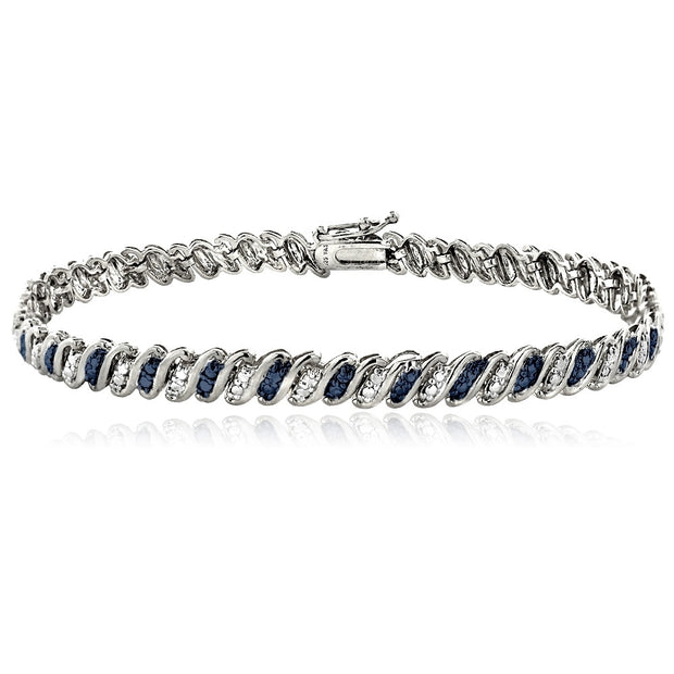 Sterling Silver Blue Diamond Accent San Marco Bracelet