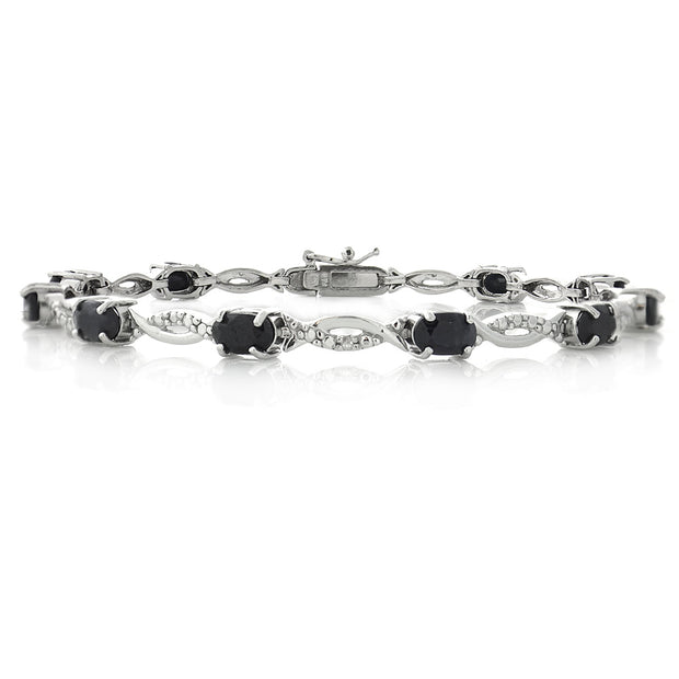 Sterling Silver 6ct Sapphire & Diamond Accent Swirl Bracelet
