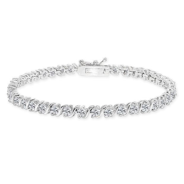 Sterling Silver Created White Sapphire S Design Bar Classic Tennis Bracelet