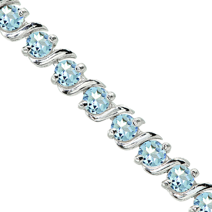 Sterling Silver Swiss Blue Topaz S Design Bar Classic Tennis Bracelet