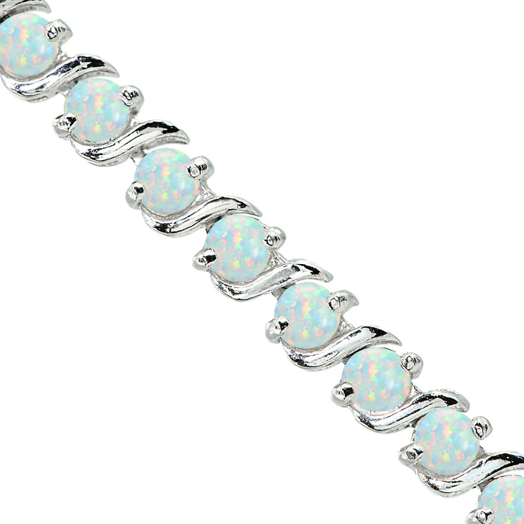 Sterling Silver Created White Opal S Design Bar Classic Tennis Bracelet