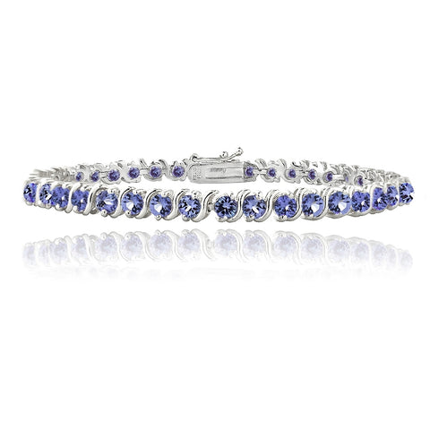 Sterling Silver 5ct Tanzanite S Design Tennis Bracelet