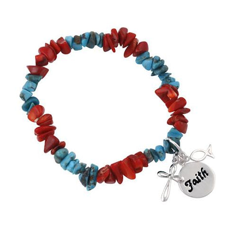 Sterling Silver Turquoise & Coral Chip Inspirational Stretch Bracelet