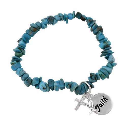 Sterling Silver & Turquoise Chip Inspirational Stretch Bracelet