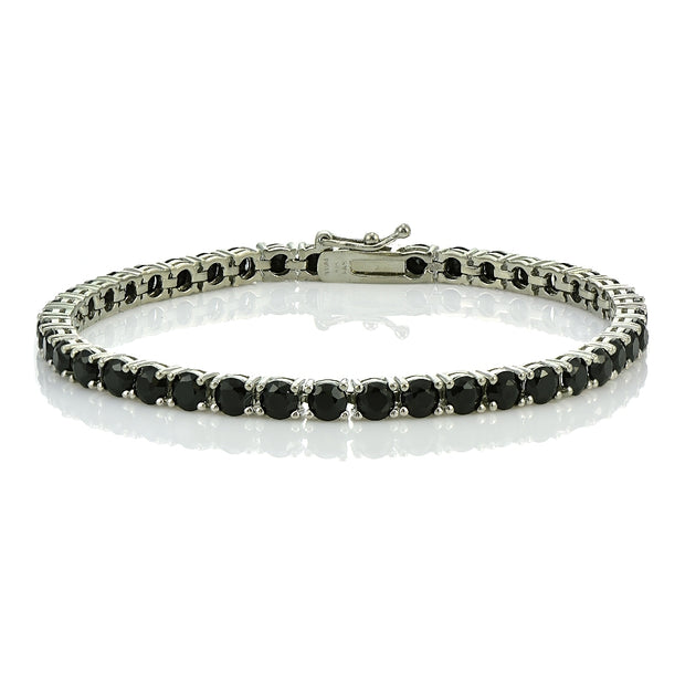 Sterling Silver 13ct Black Spinel 4mm Round Tennis Bracelet