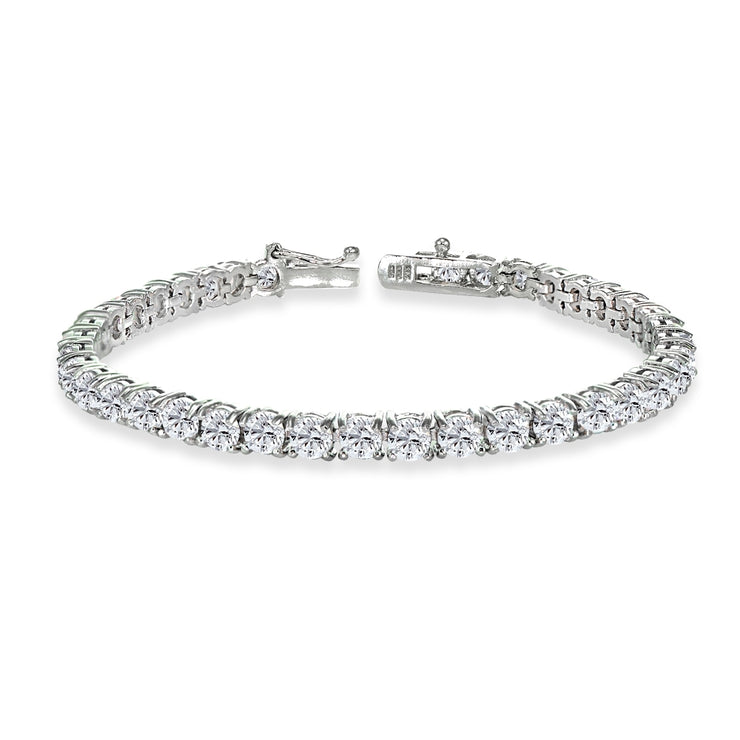 Sterling Silver 4mm Created White Sapphire Round-cut Tennis Bracelet