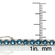 Sterling Silver 12.5ct London Blue Topaz 4mm Round Tennis Bracelet