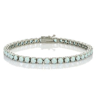 Sterling Silver 4.3ct Created White Opal 4mm Round Tennis Bracelet