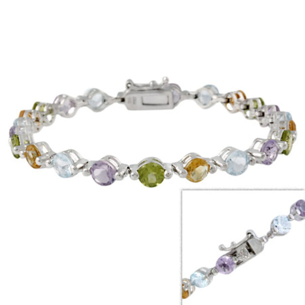 Sterling Silver Amethyst Citrine Topaz & Diamond Accent Tennis Bracelet
