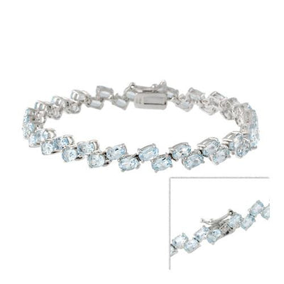 Sterling Silver 2-Row Oval Blue Topaz Gemstone Bracelet