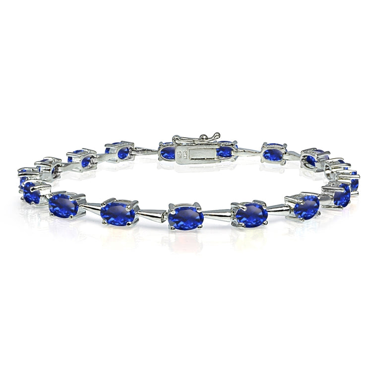 Sterling Silver Created Blue Sapphire 6x4mm Oval Classic Link Tennis Bracelet