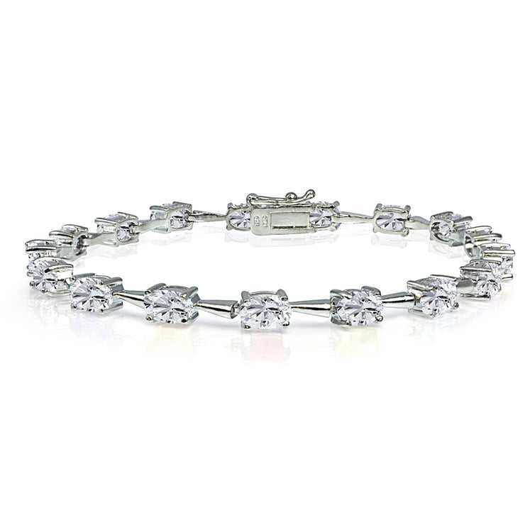 Sterling Silver Created White Sapphire 6x4mm Oval Classic Link Tennis Bracelet