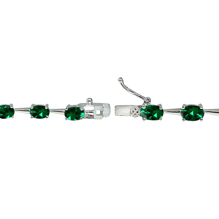 Sterling Silver Created Emerald 6x4mm Oval Classic Link Tennis Bracelet