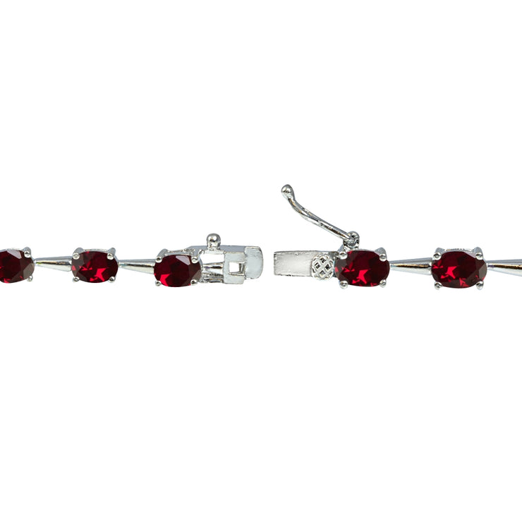 Sterling Silver Created Ruby 6x4mm Oval Classic Link Tennis Bracelet