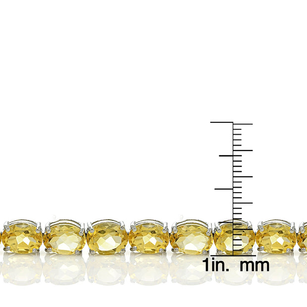 Sterling Silver 29ct Citrine 9x7mm Oval Tennis Bracelet