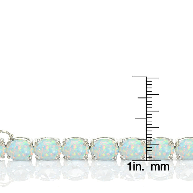 Sterling Silver 11.8ct Created White Opal 9x7mm Oval Tennis Bracelet