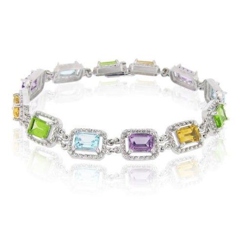 Sterling Silver 12.45ct. TGW Multi Gemstones Emerald Cut Link Bracelet