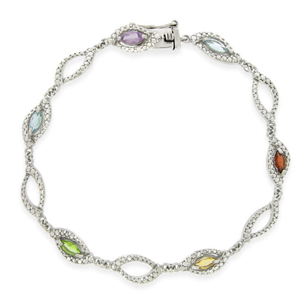 Sterling Silver Multi Gemstone & Diamond Accent Marquise Link Bracelet