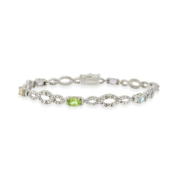 Sterling Silver Multi Gemstone & Diamond Accent Infinity Bracelet