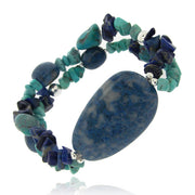 Sterling Silver Denim Lapis, Created Turquoise Chips & Nuggets Stretch Bracelet
