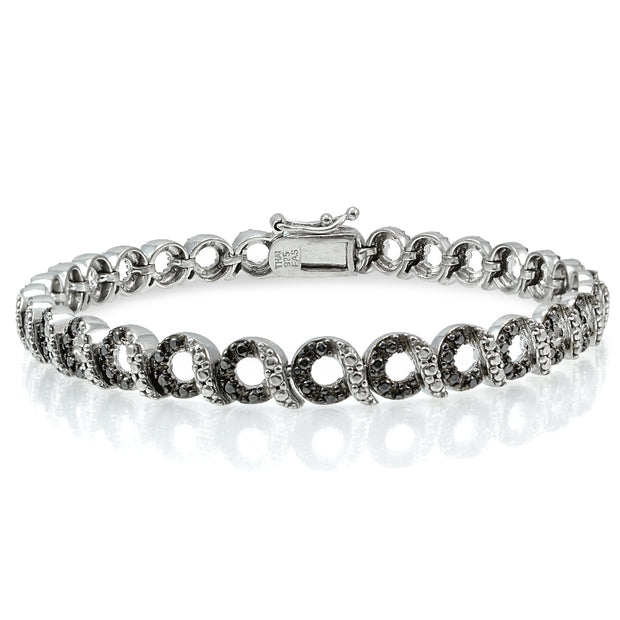 Sterling Silver Black Diamond Accent Circle and Bar Bracelet