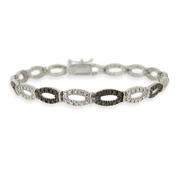 Sterling Silver Black Diamond Accent Oval Links Bracelet