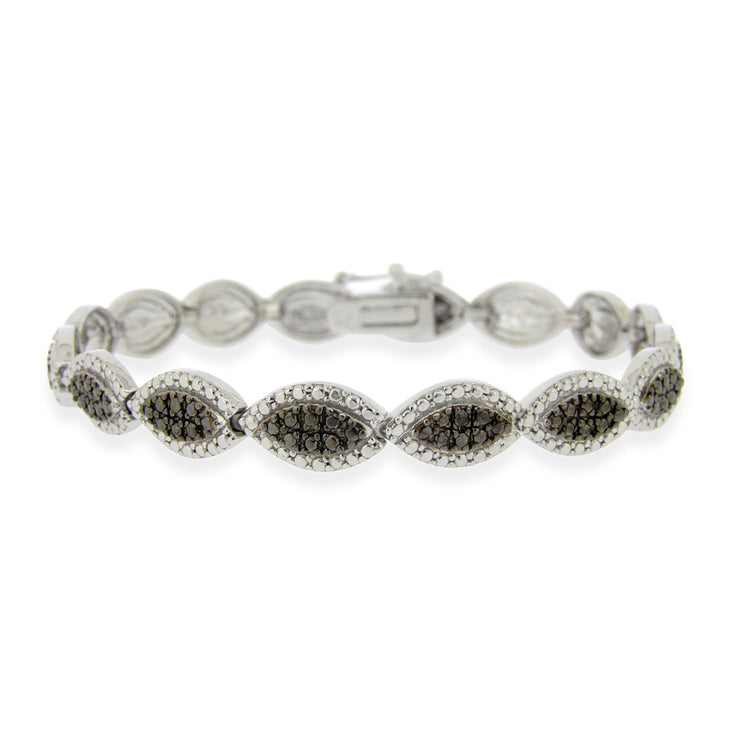 Sterling Silver Black Diamond Accent Marquise Bracelet