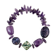 Abalone, Amethyst Chips & Nuggets Fashion Stretch Bracelet w/Silver Beads