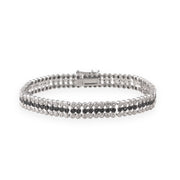 Sterling Silver 3/4ct Black Diamond Three Row Tennis Bracelet