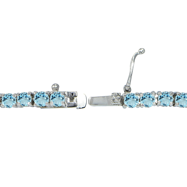 Sterling Silver 5.15ct Blue Topaz 3mm Round Tennis Bracelet