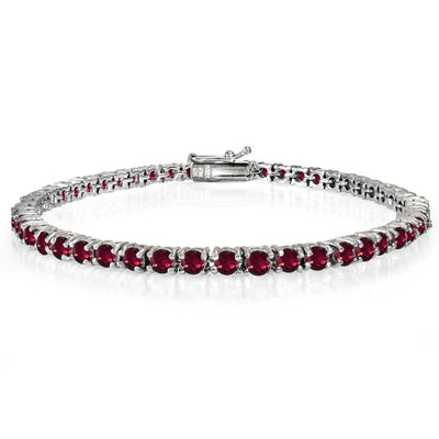 Sterling Silver 6.2ct Created Ruby 3mm Round Tennis Bracelet