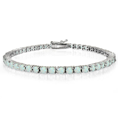 Sterling Silver 2.35ct Created White Opal 3mm Round Tennis Bracelet