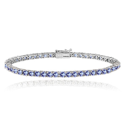 Sterling Silver 5.5ct Tanzanite 3mm Round Tennis Bracelet
