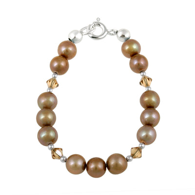 Sterling Silver Bronze Freshwater Pearls & Copper Swarovski Elements Baby Bracelet