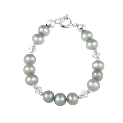 Sterling Silver Gray Freshwater Pearls & Clear Swarovski Elements Baby Bracelet
