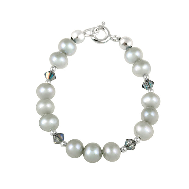 Sterling Silver Gray Freshwater Pearls & Gray Swarovski Elements Baby Bracelet