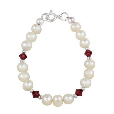 Sterling Silver White Freshwater Pearls & Ruby Swarovski Elements Baby Bracelet, 5 Inches