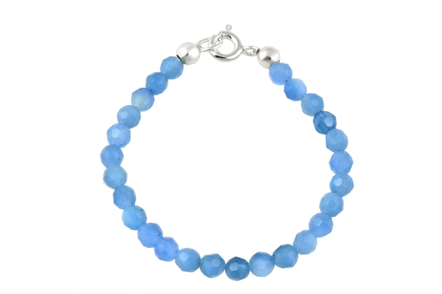 Sterling Silver Blue Quartz Beads Baby Bracelet, 5 Inches