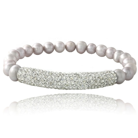 Gray Freshwater Cultured Pearl & Crystal Bar Stretch Bracelet
