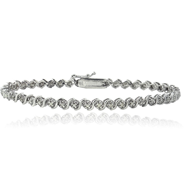Sterling Silver 1/4 ct Diamond S Design Tennis Bracelet