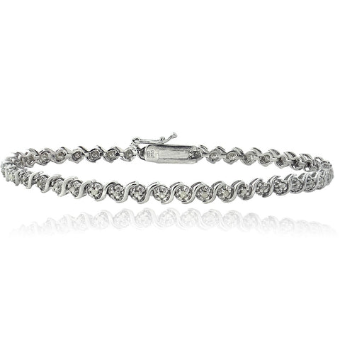 Sterling Silver 1/4ct Diamond S Design Tennis Bracelet